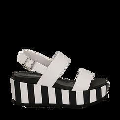 Sandali platform bianchi in eco-pelle, zeppa optical 7 cm , Scarpe, 134894399EPBIAN036, 001a