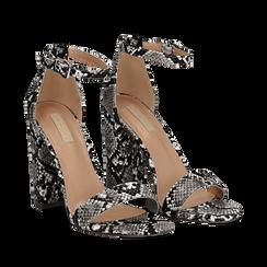 Sandali bianco/neri in eco-pelle effetto snake skin, tacco 10,50 cm, Scarpe, 132706086PTBINE035, 002a