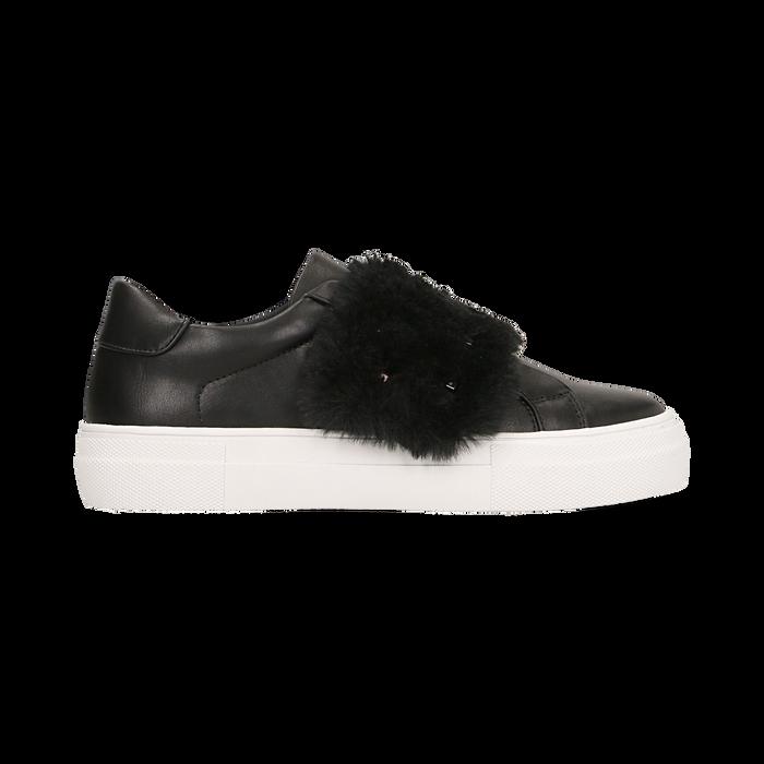 Sneakers nere Slip-on con dettagli faux-fur e borchie, Scarpe, 126103025EPNERO