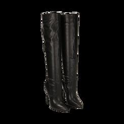 Overknee neri in eco-pelle, tacco 11,5 cm , Stivali, 142160055EPNERO035, 002a