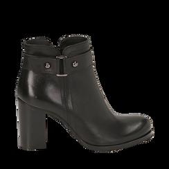 Ankle boots neri in pelle di vitello, tacco 8 cm , Stivaletti, 148900604VINERO036, 001a