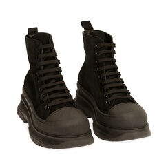 Sneakers nere in camoscio, platform 5,5 cm , Primadonna, 18A504001CMNERO035, 002a