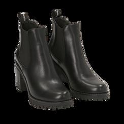 Chelsea boots neri, tacco 5 cm , Primadonna, 160637851EPNERO035, 002a