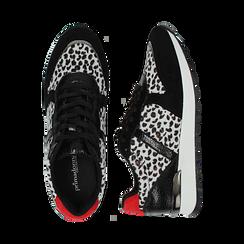 Sneakers leopard nere in eco-cavallino, Scarpe, 142008377CVLENE036, 003 preview