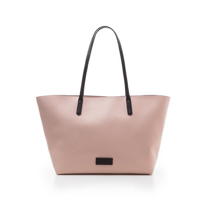 Maxi-bag rosa in eco-pelle con manici neri, Borse, 133783134EPROSAUNI