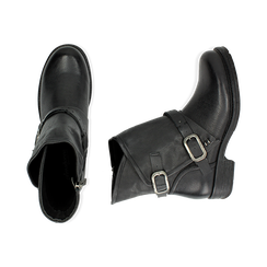 Biker boots neri con fibbie in eco-pelle, Stivaletti, 140721051EPNERO, 003 preview