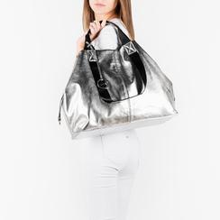 Maxi-bag argento in eco-pelle laminata, Primadonna, 152392506LMARGEUNI, 002a