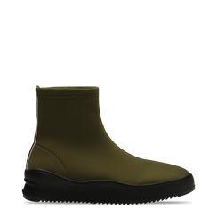 Sneakers verdi in lycra a calza con suola in gomma, 121740405LYVERD036, 001a