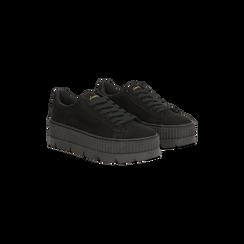 Sneakers nere con suola extra platform zigrinata, 122618776MFNERO035, 002