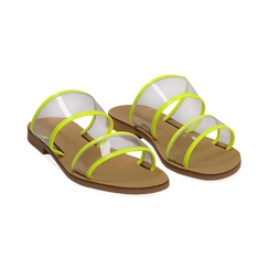 Mules flat gialle in vernice fluo con effetto see through,