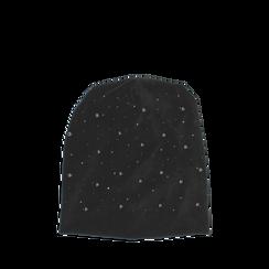 Cappello nero in microfibra con cristalli, Abbigliamento, 14B406051MFNEROUNI, 001a