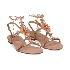 Sandali gioiello flat nude in microfibra, Primadonna, 134994222MFNUDE035, 002 preview