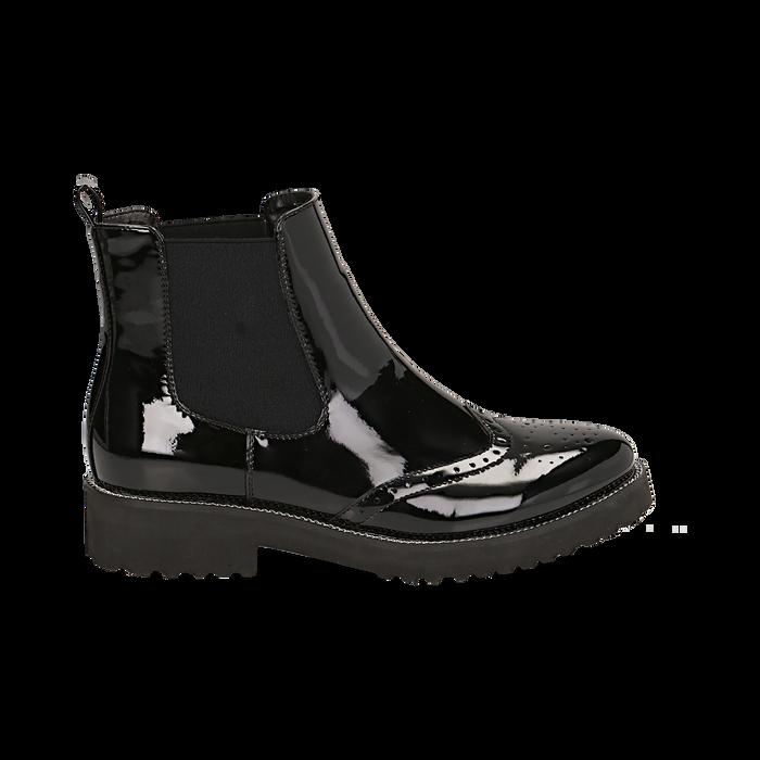 Chelsea boots neri in vernice con lavorazione Duilio, Primadonna, 143055702VENERO039