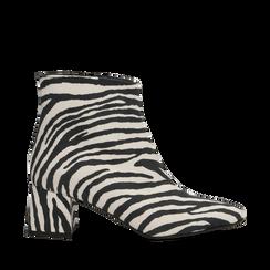 Tronchetti Zebra Print in microfibra, tacco 5,5 cm, Primadonna, 127101501MFZEBR035, 001a