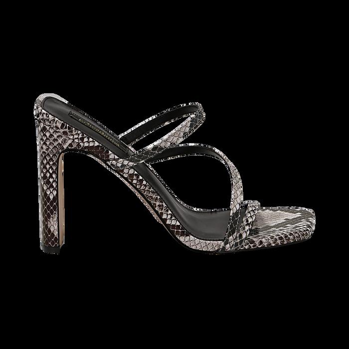 Sandali con punta quadrata nero/bianchi in eco-pelle, effetto snake skin, tacco 10 cm, Sandali con tacco, 131785322PTNEBI035