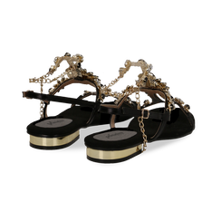 Sandali gioiello flat neri in microfibra, Primadonna, 134994222MFNERO, 004 preview