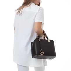 Borsa piccola nera in eco-pelle, con manico foulard, Borse, 135786700EPNEROUNI, 002 preview