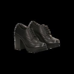 Francesine stringate nere, tacco 9,5 cm, Scarpe, 129320059EPNERO, 002 preview
