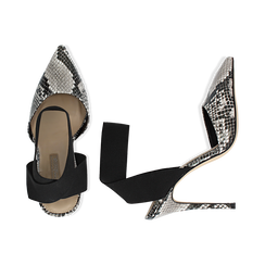 Slingback bianco/nere in eco-pelle, effetto snake skin, tacco 11,50 cm, Saldi, 131732354PTBINE035, 003 preview