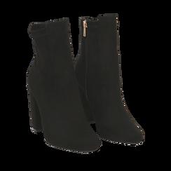 Ankle boots neri in microfibra, tacco 9,5 cm , Stivaletti, 142166061MFNERO035, 002a