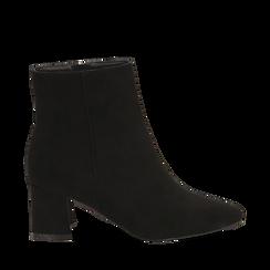 Ankle boots neri in microfibra, tacco 6 cm , Stivaletti, 144916811MFNERO035, 001a