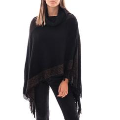 Poncho nero in tessuto , Abbigliamento, 14B400891TSNERO3XL, 001a