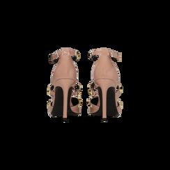Décolleté rosa nude vernice con cinturino a T borchiato, tacco stiletto 10 cm, Scarpe, 122146820VENUDE039, 003 preview