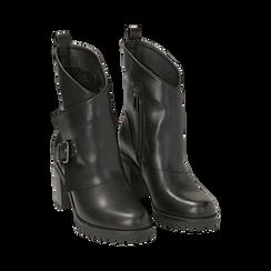 Biker boots neri in eco-pelle, tacco 8 cm , Scarpe, 140637855EPNERO, 002 preview