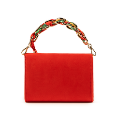 Mini bag corallo in microfibra con manico foulard in raso, Primadonna, 155122756MFCORAUNI, 003 preview