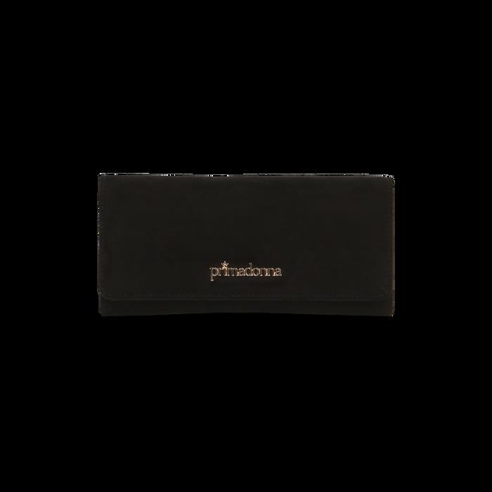 Portafoglio nero in microfibra scamosciata con 12 vani, Borse, 122200022MFNEROUNI