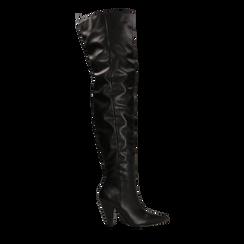 Stivali sopra il ginocchio gambale largo, tacco a cono 7,5 cm, Scarpe, 124911289EPNERO036, 001a