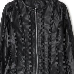 Giacca nera in eco-pelle e rete con lavorazione 3D, Primadonna, 136501080EPNEROL, 002a