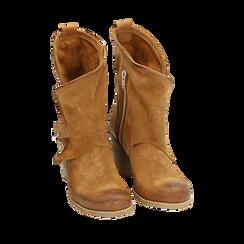 Biker boots cuoio in camoscio, tacco 7 cm, Primadonna, 155605607CMCUOI036, 002a