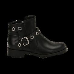 Biker boots neri in eco-pelle con oblò metallici, tacco 3 cm, Scarpe, 130619013EPNERO037, 001 preview