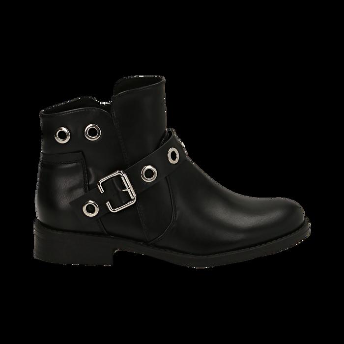 Biker boots neri in eco-pelle con oblò metallici, tacco 3 cm, Scarpe, 130619013EPNERO037