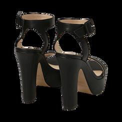 Sandali neri, tacco 12,50 cm, Scarpe, 158480410EPNERO, 004 preview