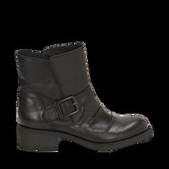 Biker boots neri con fibbia in pelle, tacco 4 cm , Primadonna, 147718215PENERO035, 001a
