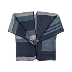 Poncho blu effetto lamé, stampa a quadri multicolore, Saldi, 12B409679TSBLUE, 001 preview