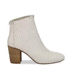 Ankle boots bianchi in pelle intrecciata, tacco 8 cm, Scarpe, 13C515018PIBIAN035, 001a