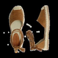 Espadrillas lace-up marroni in microfibra, Scarpe, 134933051MFMARR037, 003 preview