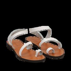Sandali minimal bianchi in pelle di vacchetta, 138100064VABIAN035, 002a
