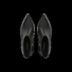 Tronchetti neri con punta affusolata, tacco 7,5 cm, Scarpe, 128485161EPNERO, 004 preview