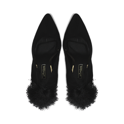 Décolleté nere con pon-pon, tacco stiletto 11,5 cm, Primadonna, 122100530MFNERO035, 004 preview