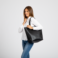 Borsa shopper nera in ecopelle, Borse, 122320678EPNEROUNI, 005