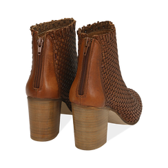 Ankle boots cuoio in pelle intrecciata, tacco 7,50 cm, Primadonna, 15C515018PICUOI036, 004 preview
