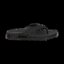 Zeppe infradito nere in pvc con strass, Saldi Estivi, 135810176PVNERO036, 001 preview