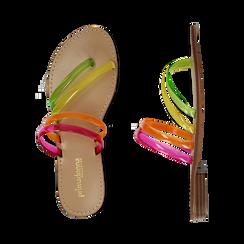 Sandali flat multilistino fluo multicolor in pvc, Primadonna, 134950613PVMULT036, 003 preview