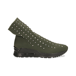 Sneakers verdi slip-on in lycra con cristalli, Primadonna, 122808611LYVERD035, 001 preview
