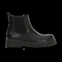 Chelsea Boots neri in vera pelle con tacco basso, Scarpe, 120639020EPNERO, 001 preview