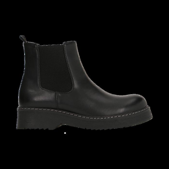 Chelsea Boots neri in vera pelle con tacco basso, Scarpe, 120639020EPNERO
